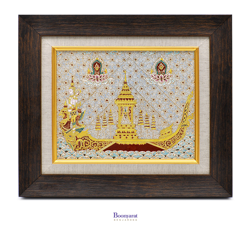 Benjarong hand painted on tile with frame