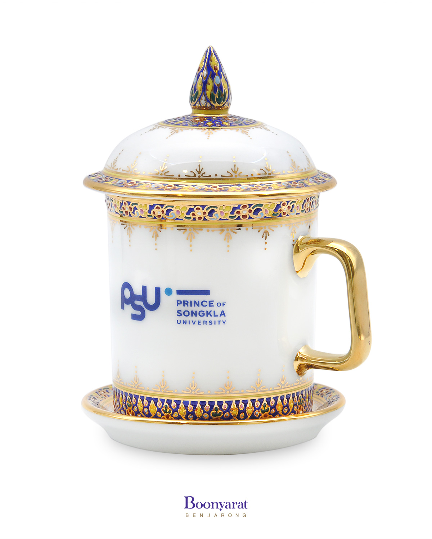 Souvenir mug hand-painted thai benjarong