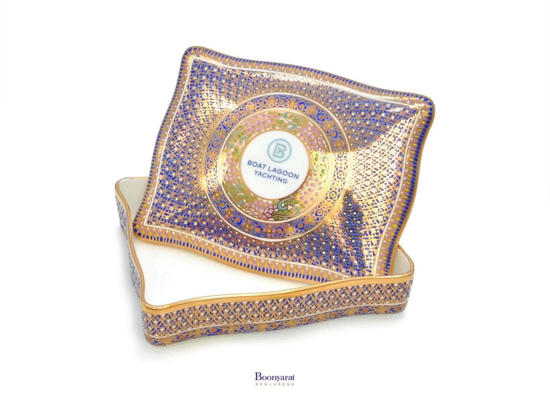 Benjarong bone china casket souvenir