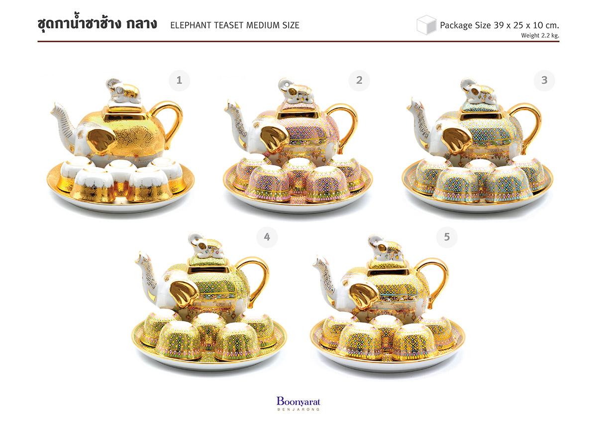 ของที่ระลึกไทย ชุดกาน้ำชาเบญจรงค์ ทรงช้าง ขนาดกลาง