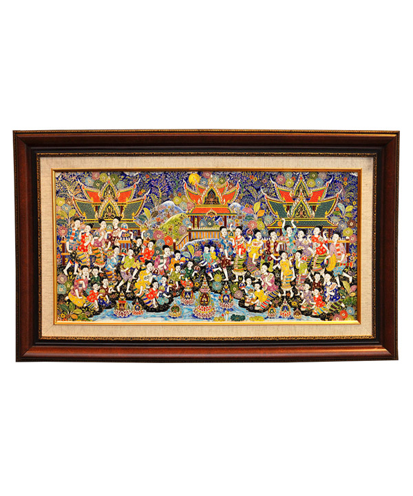 Benjarong frame 24 x 12 inch Loy-Kra-Thong festival pattern