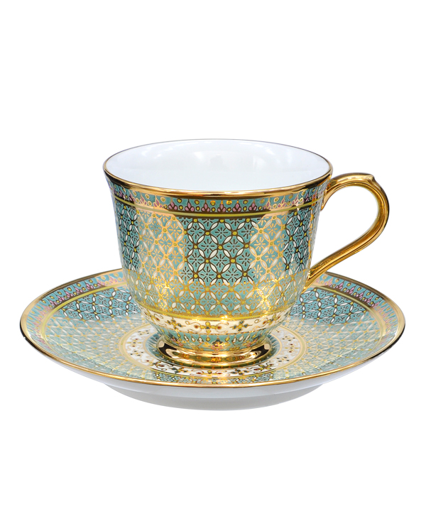 Benjarong coffee cup Kaw-ching-duang pattern bluesky color