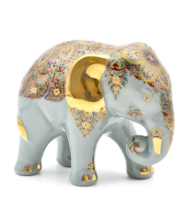 Celadon elephant with benjarong hand-painted