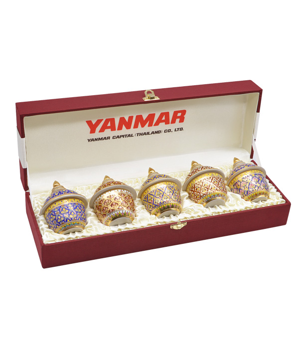 Benjarong bowl size 2 inch pack 5 ea in silkbox order by YANMAR
